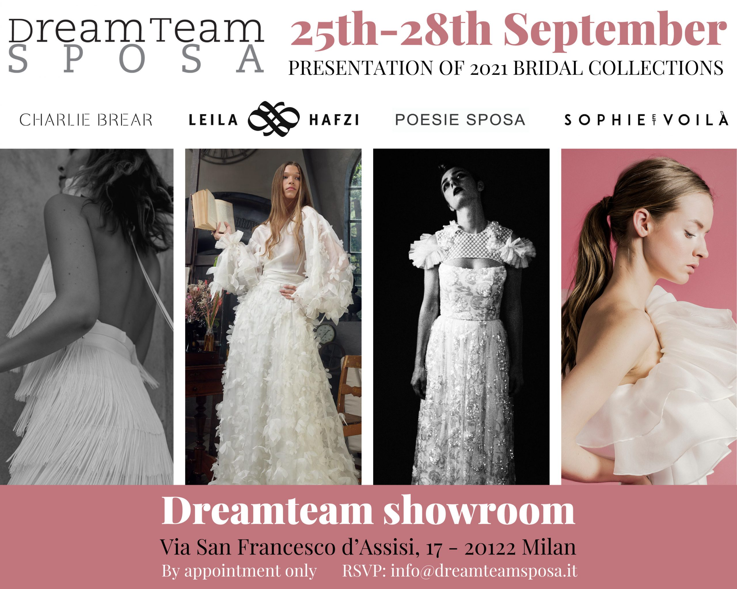 The wedding system re-starts: Dreamteam presents the 2021 collection in Milan 25-28th September